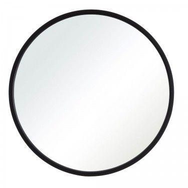 Espejo redondo con marco negro