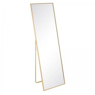 Espejo de pie dorado