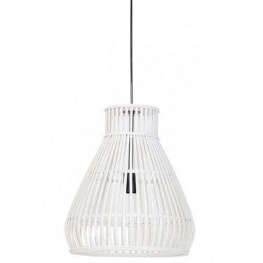 Lámpara de techo en ratán blanco.