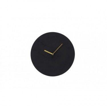 Reloj de pared de metal negro.