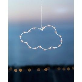 Nube decorativa blanca con luces LED