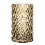 Jarrón de cristal ahumado marrón.