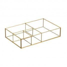 Caja organizadora de latón y cristal.