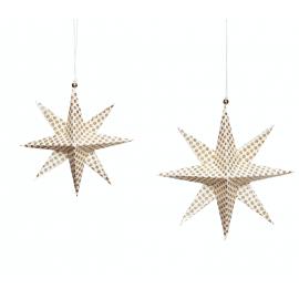 set 2 estrella de papel blanca y dorada.