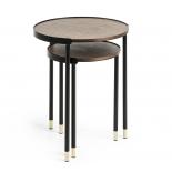 ALINER Set 2 mesas auxiliares metal negro chapado noga
