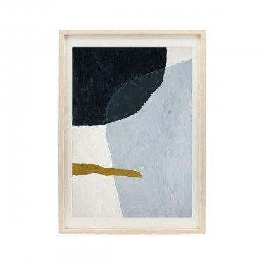 Ilustración abstracta en verde, azul y mostaza.