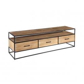 Mueble TV 3 cajones madera y hierro. 180x45x55cm.