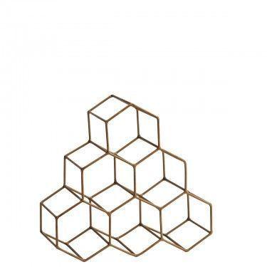 Botellero geométrico dorado.