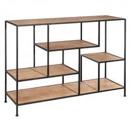 Estantería estilo industrial en hierro y madera.