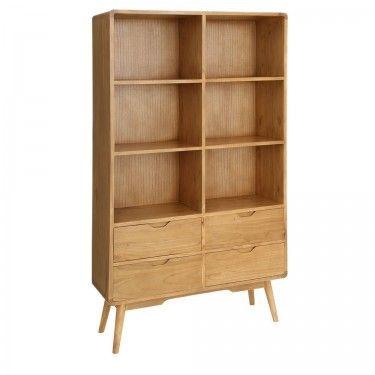 librera estantera nrdica 4 cajones y 6 estantes con patas - Estanteria Libreria