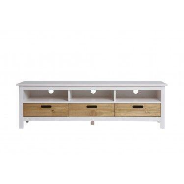 Mueble TV blanco con cajones de madera.