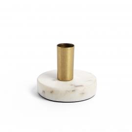 CHECKS Candelero mármol blanco metal latón