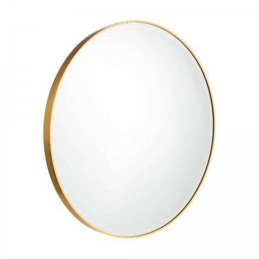 Espejo redondo marco dorado.