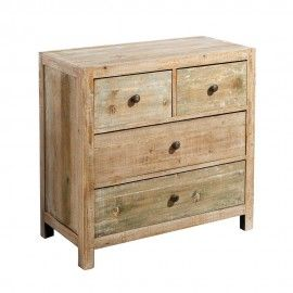 Aparador 2 cajones pequeños y 2 grandes madera natural.