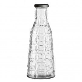 Botella de cristal geométrica.