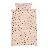 Cojunto de funda nórdica y funda de almohada rosa.