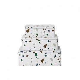 Set 3 cajas blancas con estampado de terrazo.