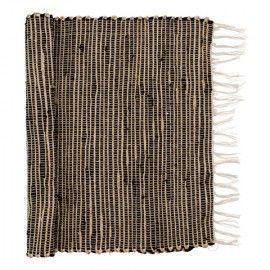 Alfombra estilo boho en beige y negro. 60x120 cm.
