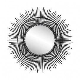 Espejo de bambú negro. ø60 cm