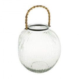 Portavelas de cristal y bambú.