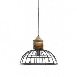 Lámpara industrial de hierro y madera.