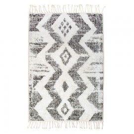 Alfombra zig-zig blanco / negro. 75x110cm.
