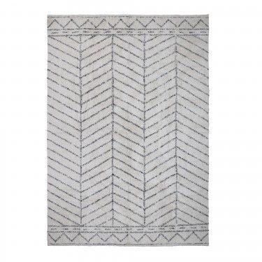 Alfombra blanca con motivos geométricos.300x200cm.
