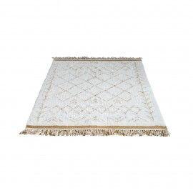 Alfombra geométrica blanca y mostaza. 200x120 cm.