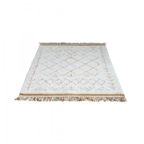 Alfombra geométrica en blanco y mostaza. Dimensión: 200x120 cm.