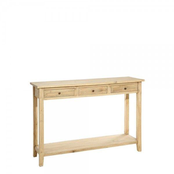 consola cajones madera natural
