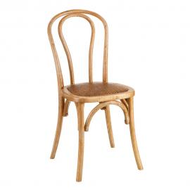 Silla madera asiento ratán.