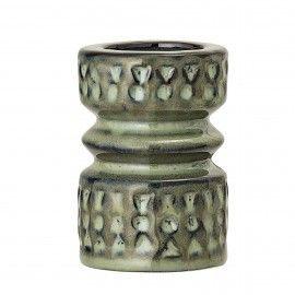 Portavelas cerámica verde.