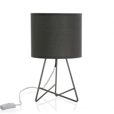 Lámpara de mesa pantalla gris.