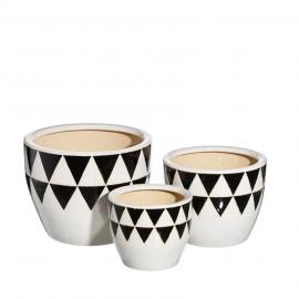 Macetero cerámica negro y blanco. Varios tamaños.