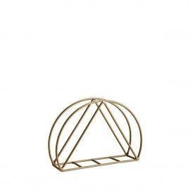 Servilletero de mesa geométrico dorado.