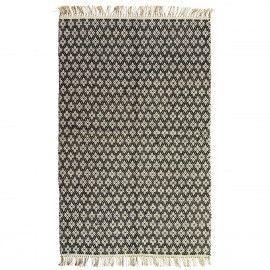 Alfombra étnica negra y blanca. 120x180