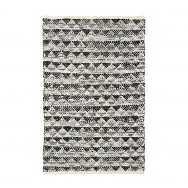 Alfombra cuero y algodón. 60x90