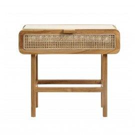 Consola en madera de teca con cajón. 90 x 35 x 80 cm.