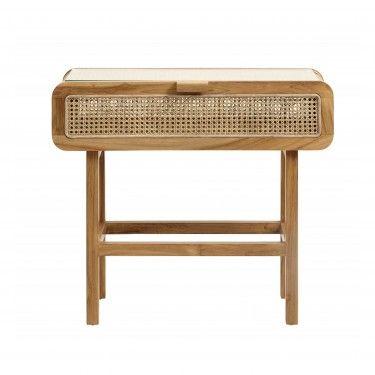 Consola en madera de teca con cajón.