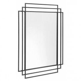 Espejo rectangular hierro negro. 76 x 97 cm