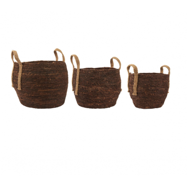Cestas de yute marrón. Varios tamaños.