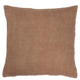Cojín lino marrón rústico.