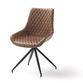 Silla giratoria efecto cuero marrón con patas metal negro.