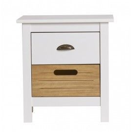 Mesita de noche con cajón de madera. 46x35x49,5cm.