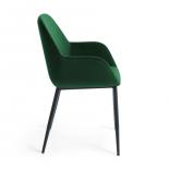 KOON Silla brazos metal negro terciopelo verde