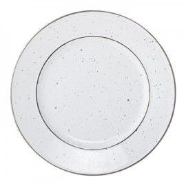 Plato llano de cerámica blanca.