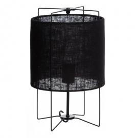 Lámpara de mesa tejido negro. ø25x40 cm.