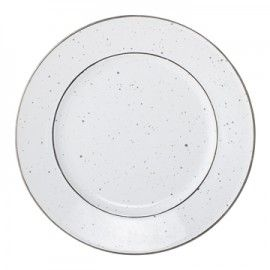 Plato postre de cerámica blanca.