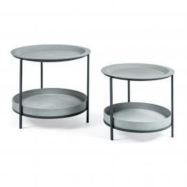 SLEET Set 2 mesas metal negro cemento gris