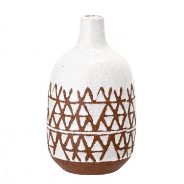 Jarrón blanco con motivos geométricos teja.